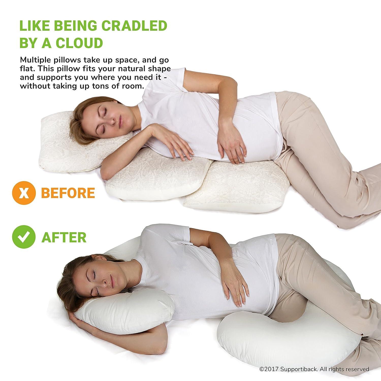 Supportiback/® Almohada de maternidad en C Supportiback almohada de cuerpo entero para el embarazo con funda lavable.
