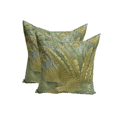 "Resort Spa Home Decor Set of 2 - Indoor/Outdoor Decorative Square Throw/Toss Pillows - Made with Green, Blue, Tan Tropical Palm Leaf - Tommy Bahama Bahamian Breeze Surf Fabric - Choose Size (24"") : Garden & Outdoor"