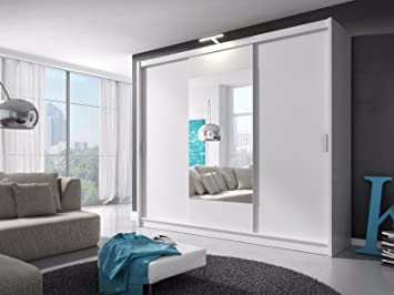 Sarah 250 3 Doors Sliding Mirrored Large Bedroom LED Modern Style Wardrobe    White