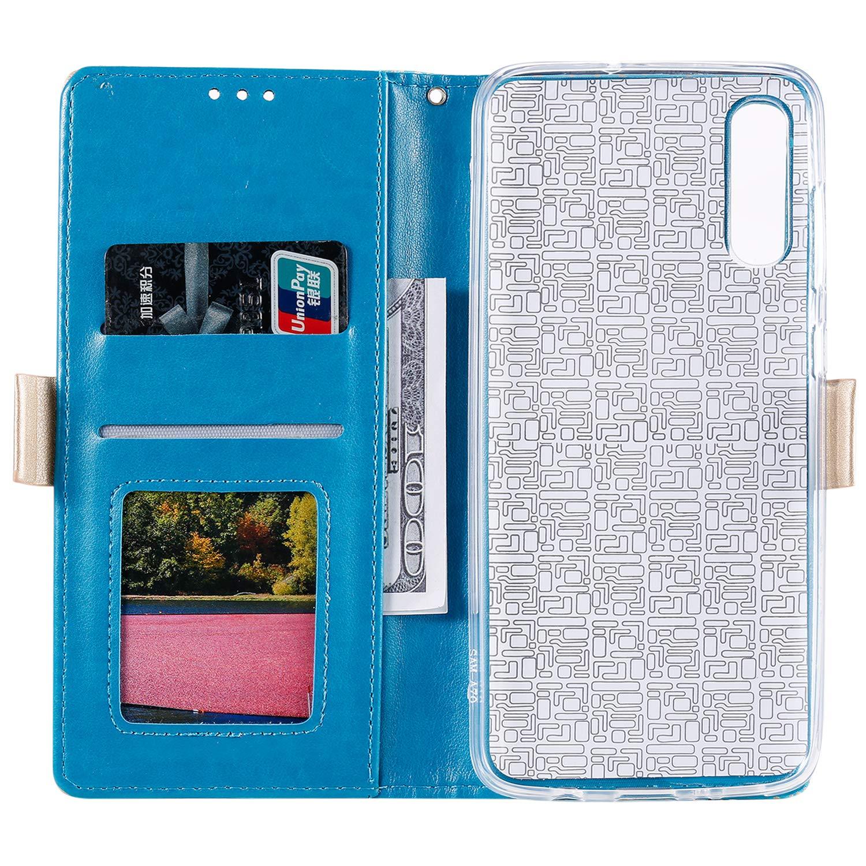 Lomogo Coque Galaxy A70 Housse en Cuir Portefeuille avec Porte Carte Fermeture par Rabat Aimant/é Antichoc /Étui Case pour Samsung Galaxy A70 LOHHA120100 Bleu