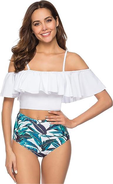 DAYU Girls Bikini Set One Shoulder Two Piece Swimsuit Bathing Suit