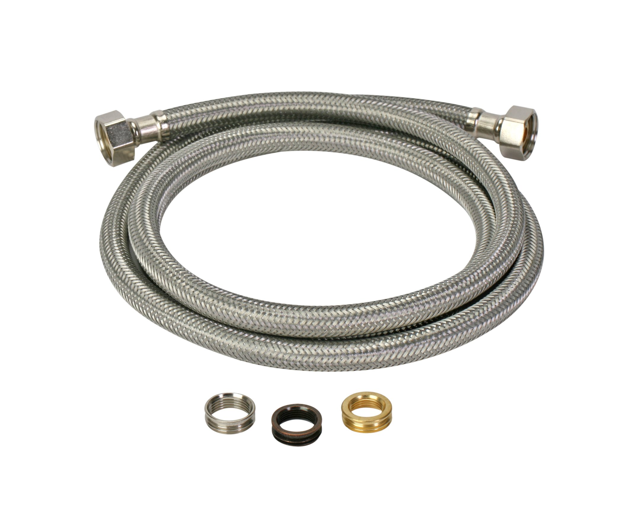 Fluidmaster 4F36CU Faucet Connector With Size Adaptors, Braided Stainless Steel - 3/8 Compresion, 7/16 Compression, 1/2 Compression, or 1/2 F.I.P. Thread x 1/2 F.I.P. Thread, 36-Inch Length