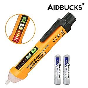 Detector De Voltaje Sin Contacto Aidbucks PM8908C 12V~1000V CA/ 50-60Hz Detector De Tension Alarma Tester Electrico Comprobador De Tensión y De LED Blanco