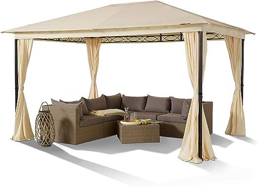 TOOLPORT Cenador de jardín 3x4 m Acero Vintage 180 g/m² Techo Lona Cenefa cenador Impermeable Carpa de jardín 4 Cortinas Laterales champaña: Amazon.es: Jardín