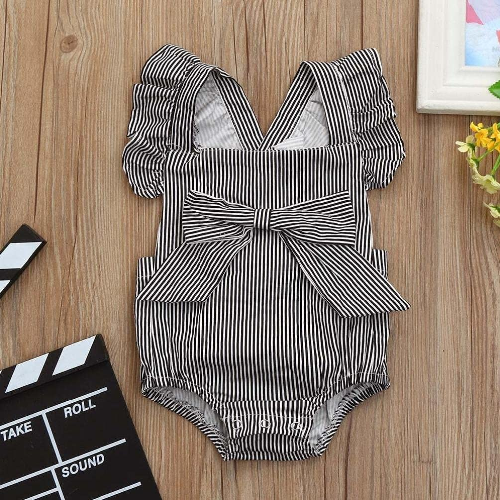 Efaster Baby Girls Clothes,Striped Bowknot Romper Backless Ruffled Jumpsuit