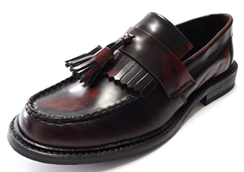 0da79d0f916ac Ikon SELECTA Mens MOD Skinhead Polished All Leather Tassle Loafers Oxblood  Red