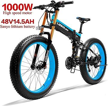 LANKELEISI 750PLUS 48 V14.5AH 1000 W Motor Todo-Potente Bicicleta eléctrica de 26 Pulgadas, 4,0, neumáticos Grandes de 27 velocidades, Nieve, Bicicleta eléctrica Plegable para Adulto/Hombre (Azul): Amazon.es: Deportes y aire libre