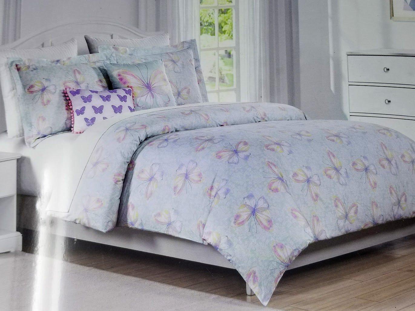 Tahari Home Kids 4pc Twin Comforter Set - Butterflies w/ 2 Decorative Pillows
