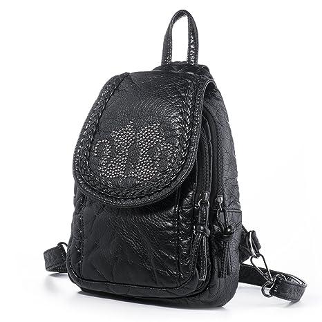 9fe0d2c82 Hengwin Mini Mochila Tipo de Cuero para Mujer Niñas Mochilas Bolso Casual  Pequeña (Negro)