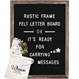 Rustic Wood Frame Black Felt Letter Board 12x16 inches. Pre-Cut 440 White & Gold Letters, Months & Days Cursive Words, Additional Symbols & Emojis, 2 Letter Bags, Scissors, Vintage Stand. by whoaon (Color: Black 12x16, Tamaño: Dark Package)