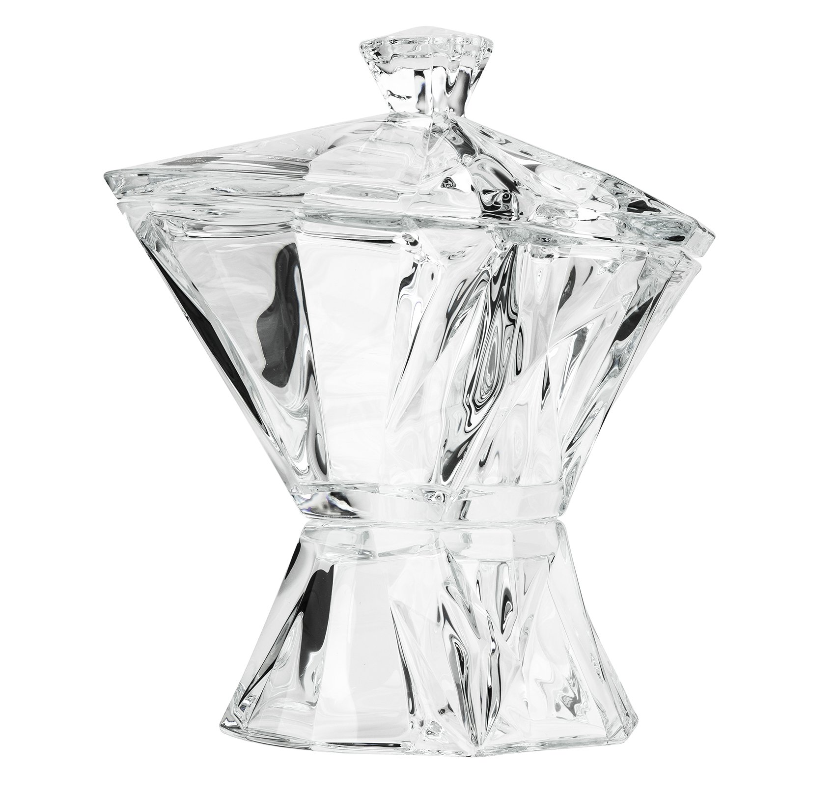 Aurum Crystal 11'' Large Angles Candy Box, Decorative Centerpiece Footed Bowl with Lid, Crystal Trinket Box on Stem, Wedding Gift