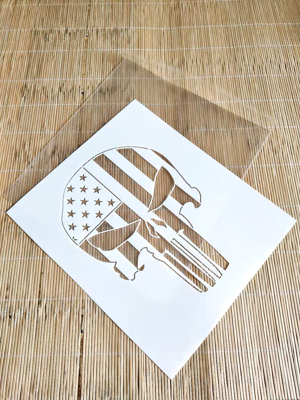 punisher stencil Card making Airbrush skull Stencil Craft Stencil