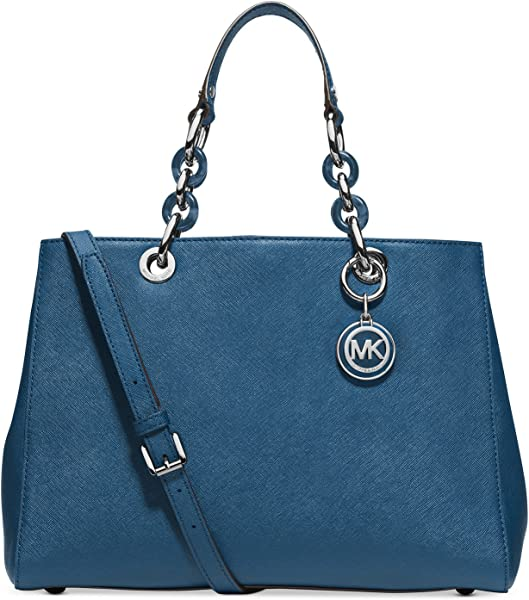 4a46629ecd656 MICHAEL Michael Kors Cynthia Medium Satchel (Steel Blue)  Handbags ...