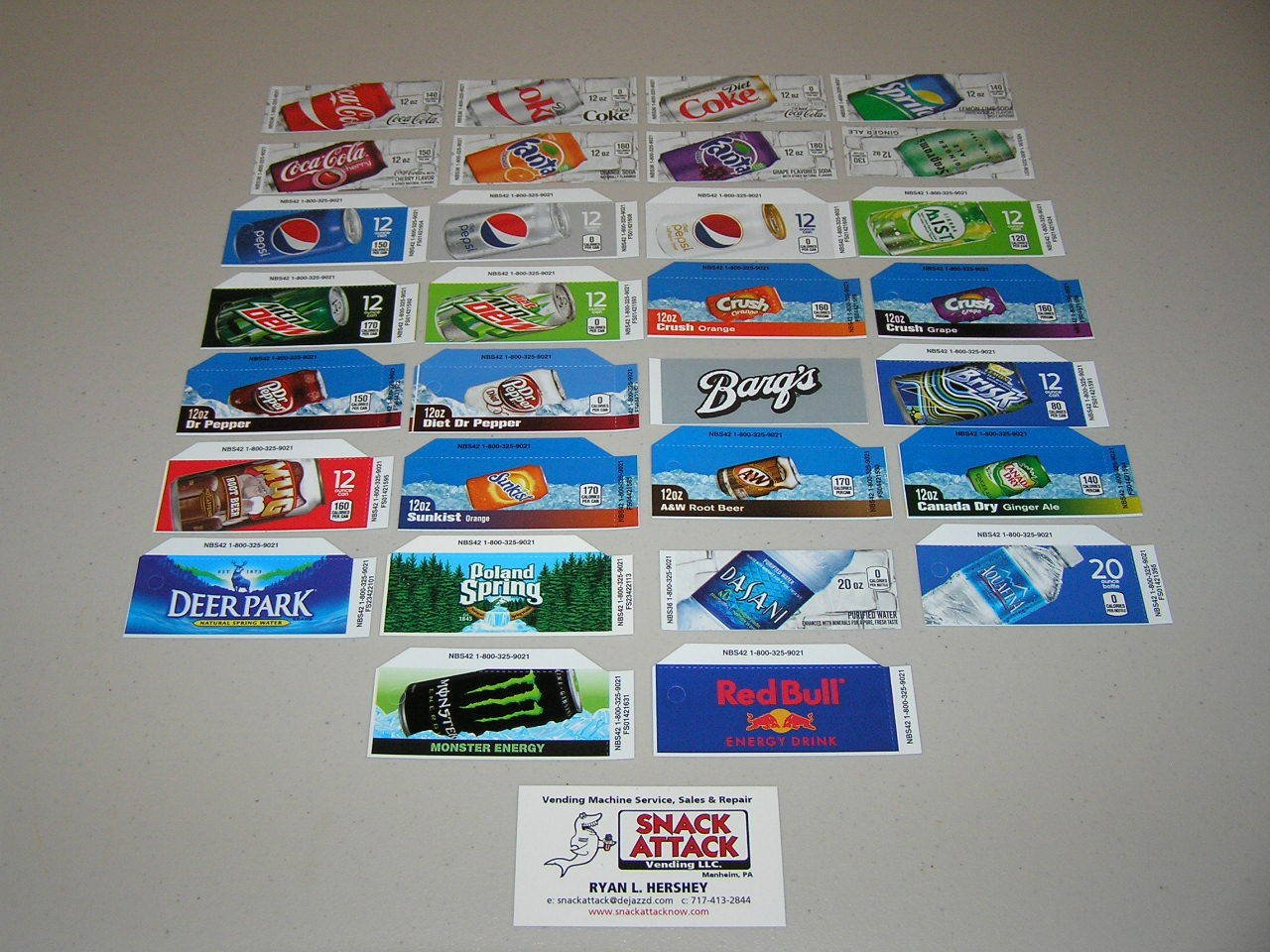 (30) Coke OR SODA Vending Machine 12oz CAN Vend Label Variety Pack /! by Snack Attack Vending