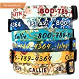 Buttonsmith Custom Personalized Dog Collar - Fadeproof Permanently Bonded Printing, Military Grade Rustproof Buckle, Resistant to Odors & Mildew, Choice of 5 Sizes, 100% Made in USA