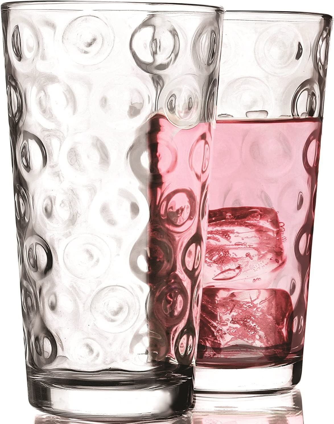 Circleware Circles Drinking Glasses Set of 4, 17 ounce, Clear 4pc