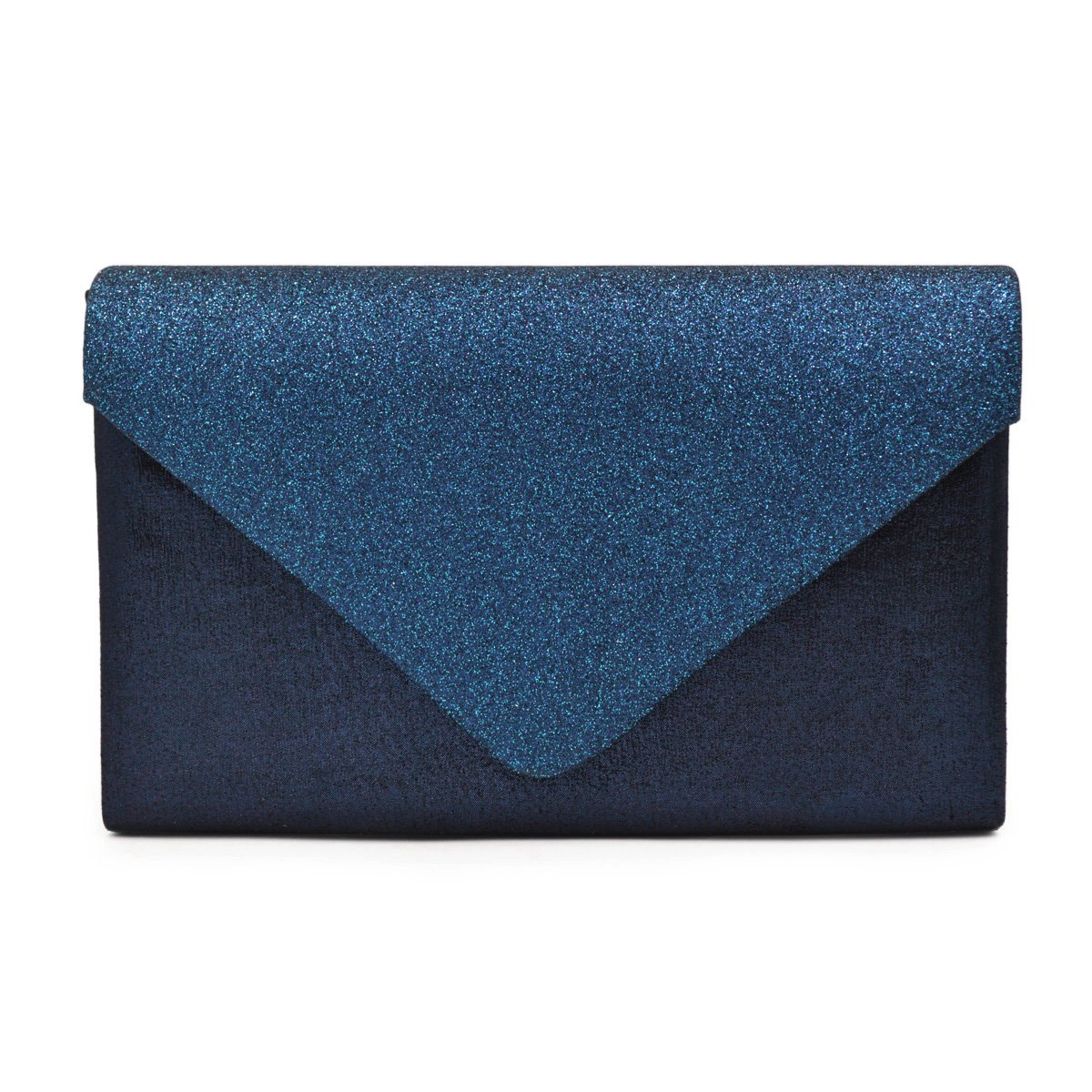 Premium Glitter Front PU Leather Envelope Flap Clutch Evening Bag, Navy