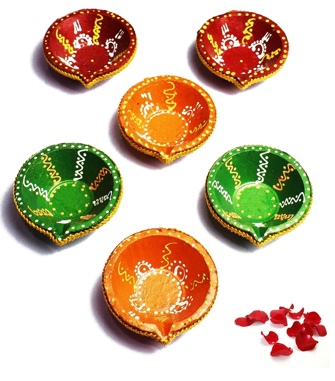 6 Pc Set of BIG SIZE Diwali Gift/Diwali Decorations Diwali Diya.Handmade Natural Earthen Oil Lamp/Welcome Traditional Diyas with Cotton wicks Batti. Deepawali Diya Lamp. Diwali Earthen Lamp. Oil lamp Crafts'man DIYA011