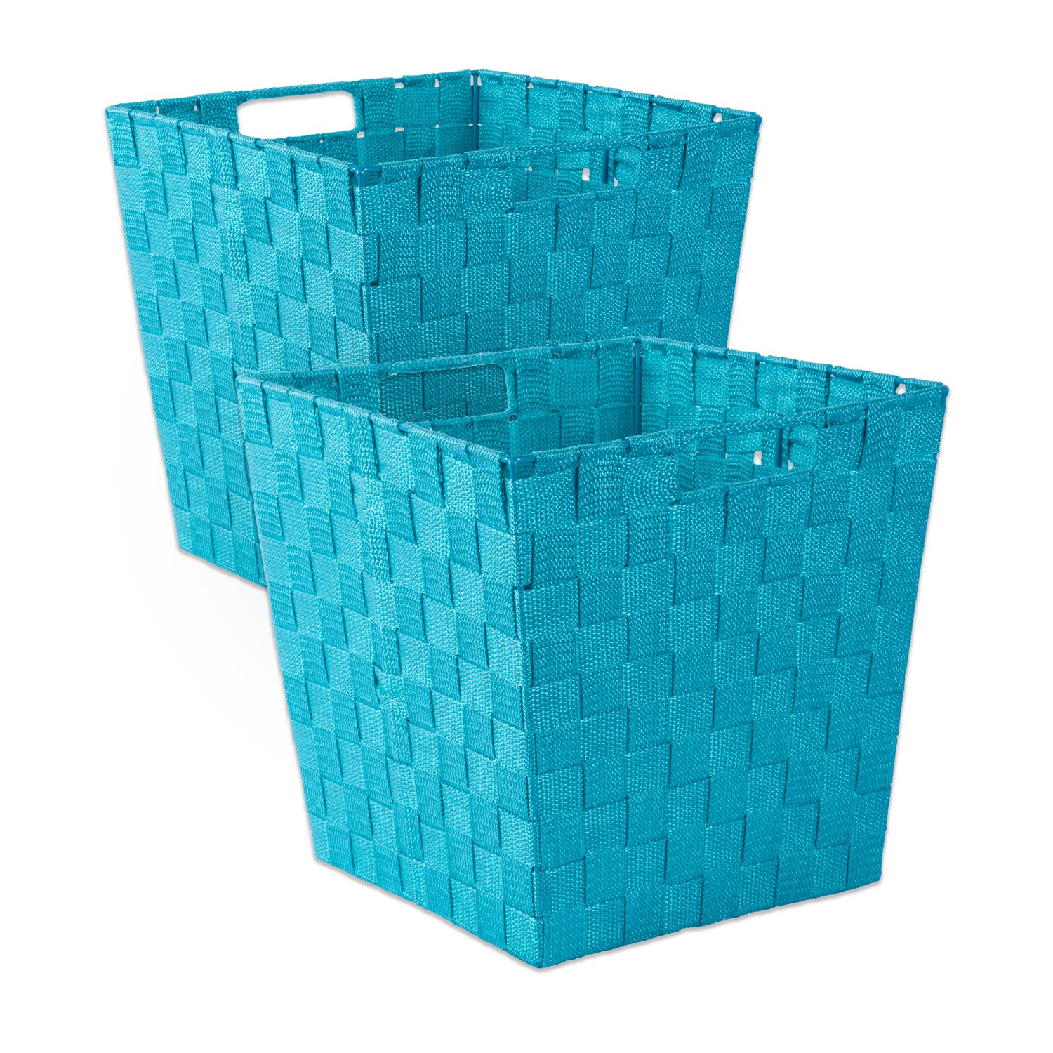DII Durable Trapezoid Woven Nylon Storage Basket for Organizing Your Home, Office, or Closets (Medium Bin - 11x11x11'') Teal - Set of 2