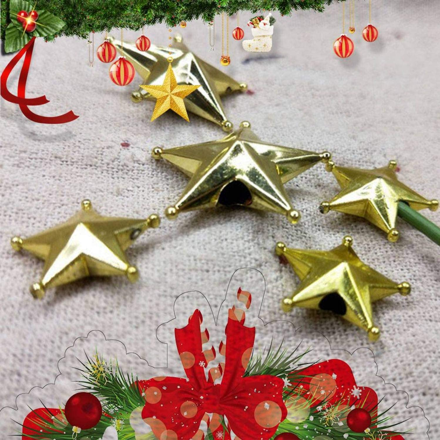 htrdjhrjy many types Mini Christmas Tree Star Topper Gold Ornament Party Xmas Decor Sparkle UK for Home Decoration None Gold-2CM