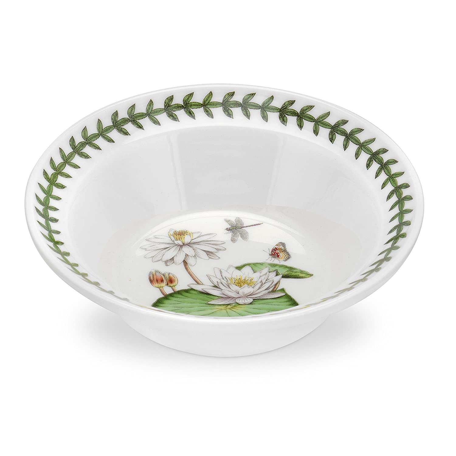 Portmeirion Exotic Botanic Garden White Water Lily Oatmeal Bowl .