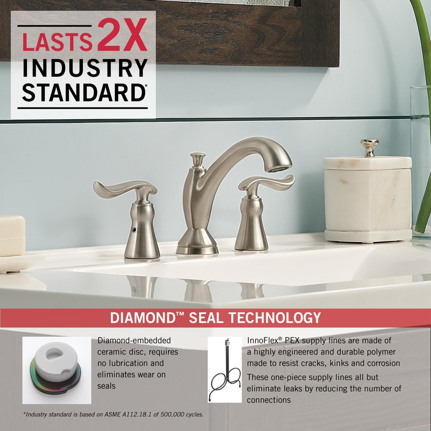 Delta 3594-SSMPU-DST Linden 2-Handle Widespread Bathroom Faucet with Diamond Seal Technology and Metal Drain Assembly, Stainless by DELTA FAUCET (Image #3)
