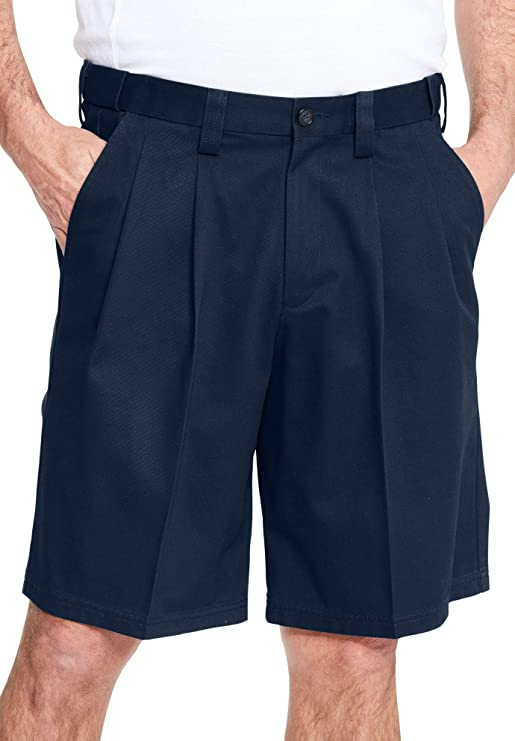 Vintage Style Men's Shorts KingSize Mens Big & Tall Wrinkle-Free Expandable Waist Pleat Front Shorts  AT vintagedancer.com