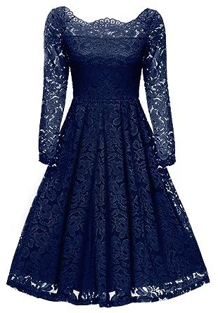 Gigileer 50s Damen Kleider Spitzenkleid Schulterfrei Langarm Knielang  festlich Cocktail Abendkleid Navy S  Amazon.de  Bekleidung 00eb2a94f7