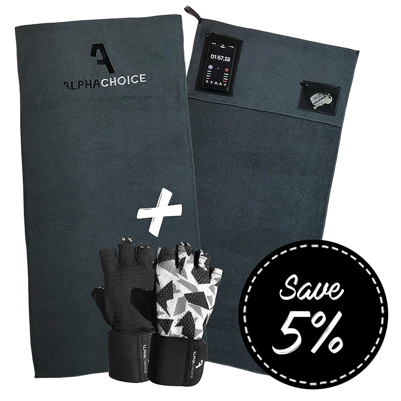 Alphachoice Sporthandtuch fürs Fitnessstudio mit Reißverschluss-Taschen//Gym Handtuch//Fitness Handtücher Damen /& Herren 100cm x 50cm