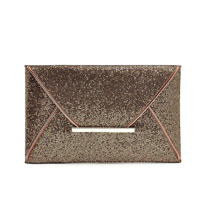 Handtasche Clutch mit Glitzer Abendtasche Hochzeit Party Elegante Unterarmtasche in Gold und Bronze (Bronze) 4060131022780