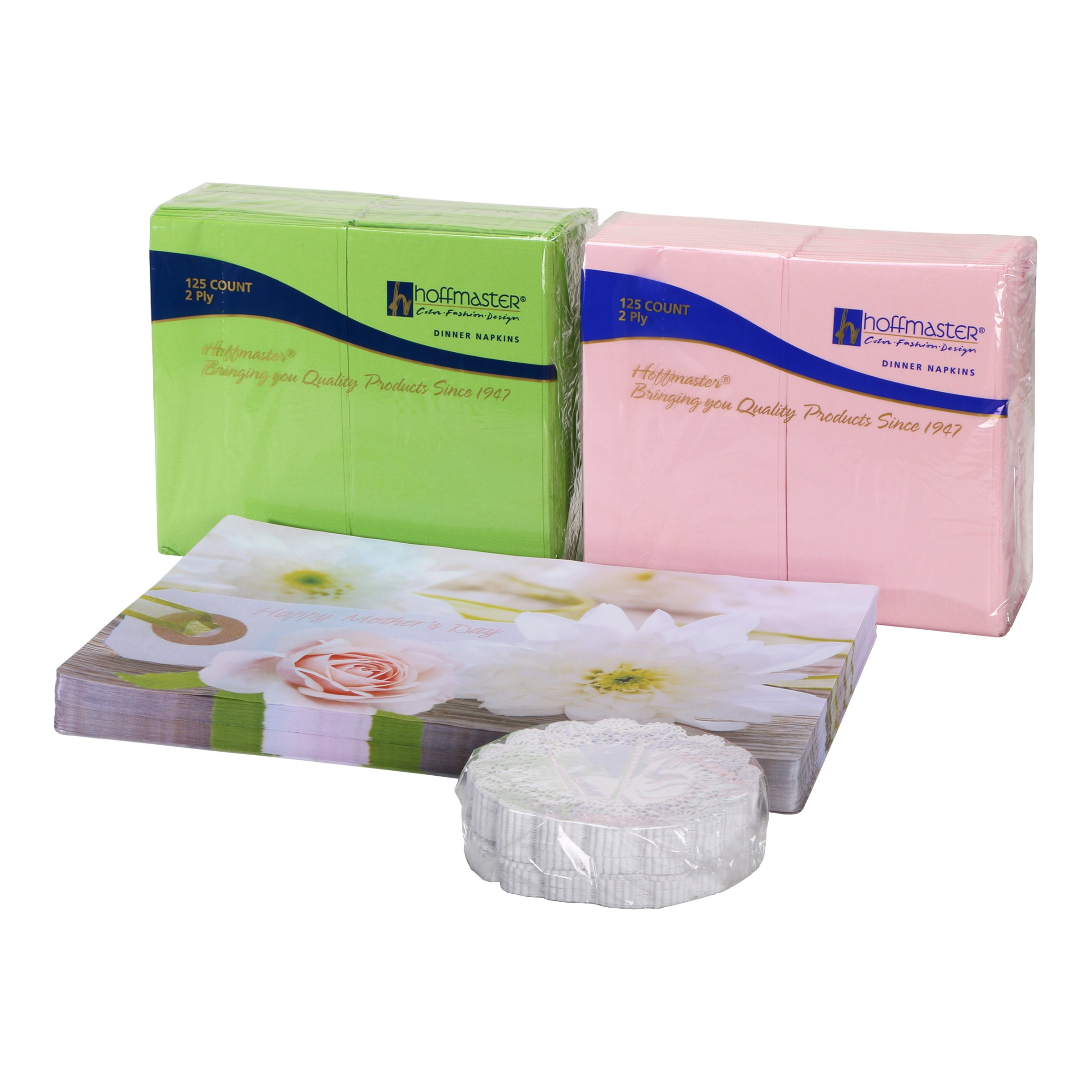 Hoffmaster 856779 Mothers Day Combo Packs, Placemats, Coordinating Decorator Napkins with Bonus 5'' Lace Doilies All in A Dispensing Box, 9.75'' Length x 14'' Width (Pack of 750) by Hoffmaster (Image #2)