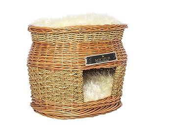 MICHUR LUKE, Cama del perro, cama del gato, cesta del gato, cesta del perro, sauce, cueva, mimbre, beige marrón: Amazon.es: Hogar