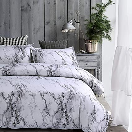gray and white comforter Amazon.com: AMOR & AMORE White Marble Comforter Gray Grey and  gray and white comforter