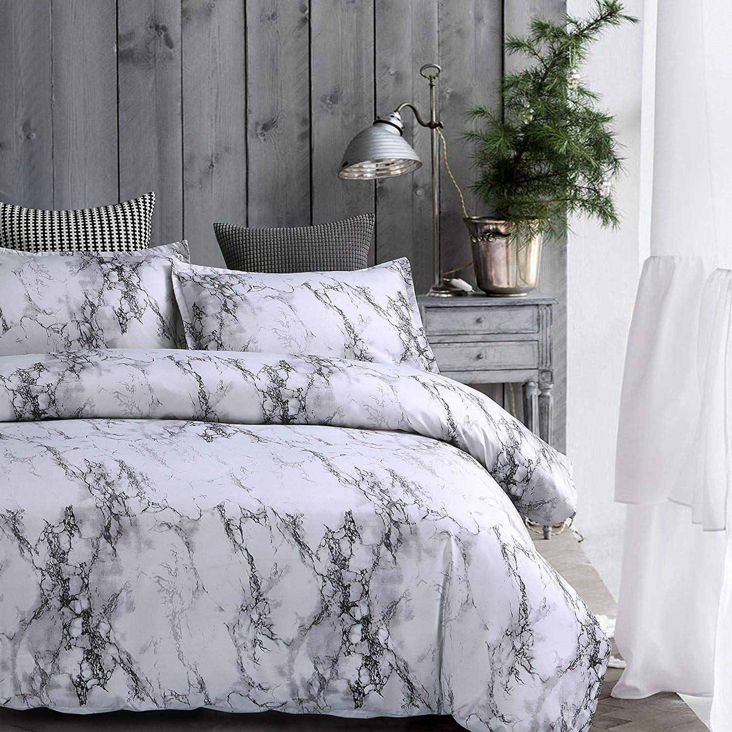 Amor Amp Amore White Marble Comforter Gray Grey And White
