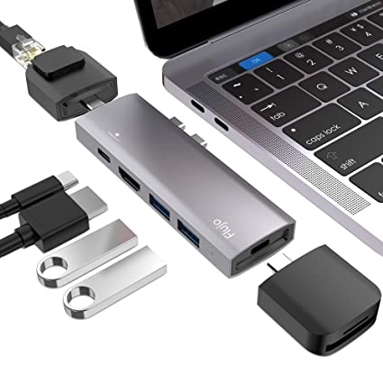 USB C Modular Multiport Adapter Compatible 2016/2017/2018 MacBook Pro 13/15 -Thunderbolt 3,4K HDMI,2 x USB 3.0 Ports.3 x Modular Accessories SD/TF ...