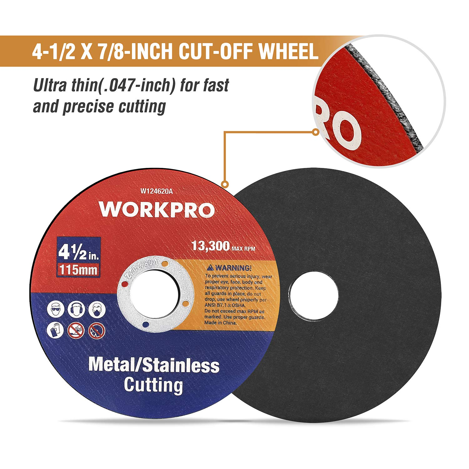 "4/"" X 3//64/"" X 5//8/"" Type 42 Metal Cut Off Wheels Depressed Center 25pc"