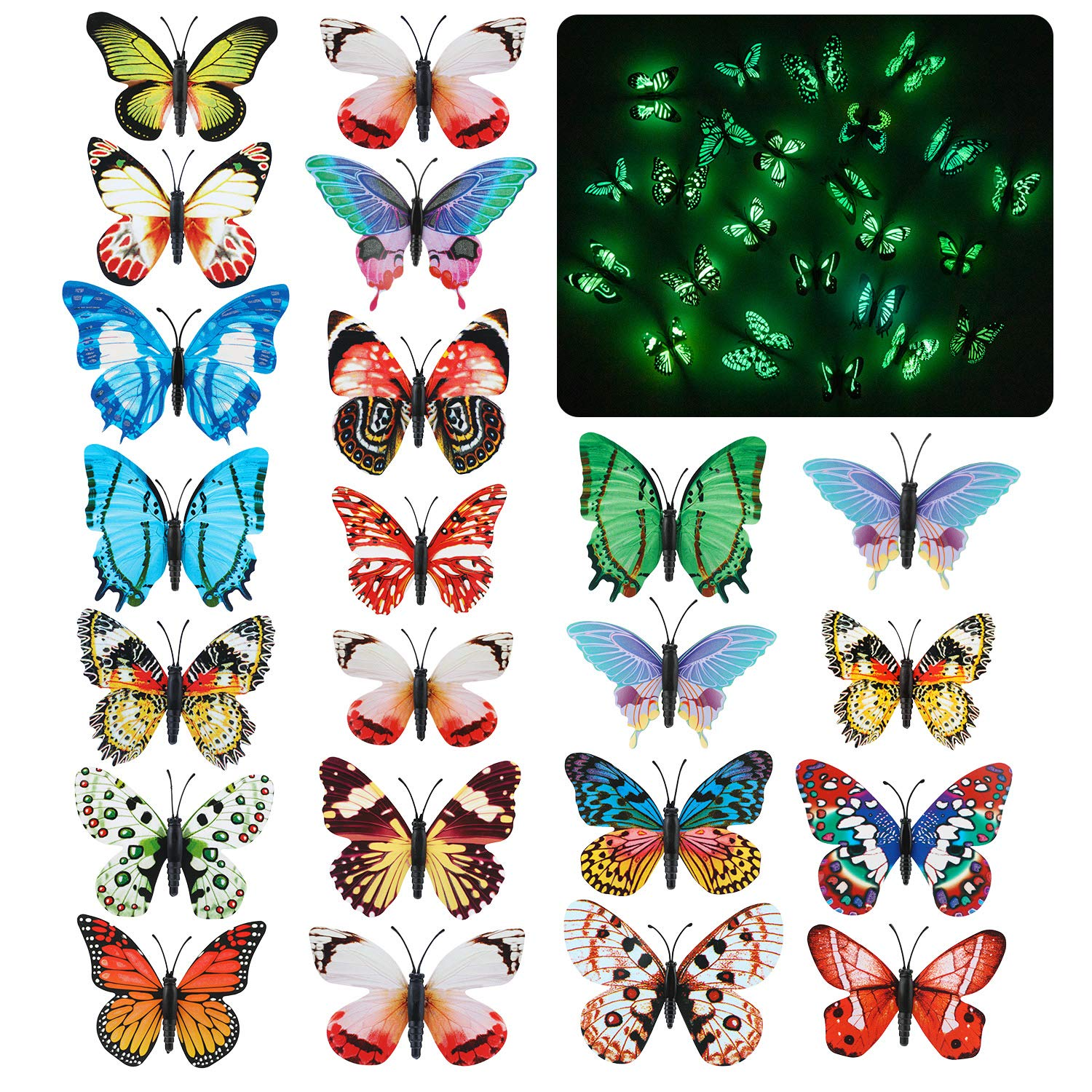 Qkurt 24pcs 3D Glow in The Dark Butterfly Wall Decals Luminous Wall Stickers for Room Home Nursery-Sticker Style