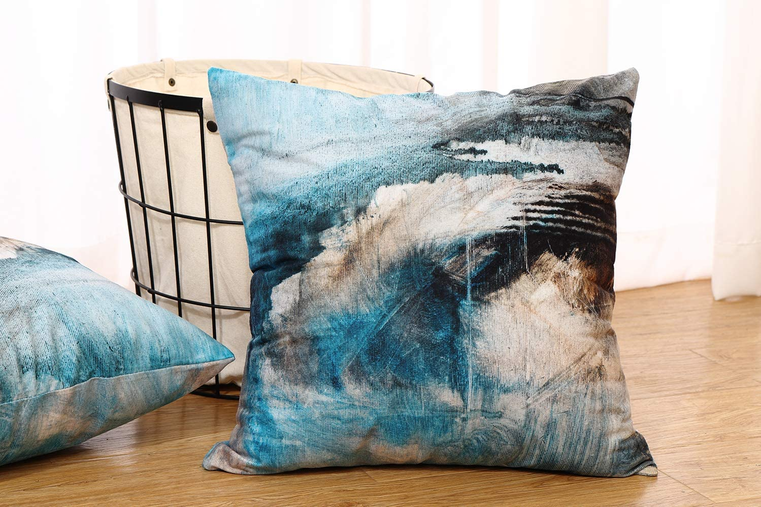 Wayato Oil Painting 18 X 18 Decorative Pillow Covers Abstract Canvas Color Artwork Grunge Double Sided Pattern Square Turquoise Pillow Covers Sofa Cushion Covers For Living Room Home Kitchen