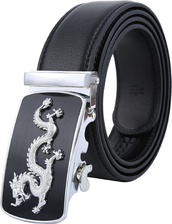Tanpie Mens Leather Belt Automatic Alloy Buckle 35mm Ratchet Belt