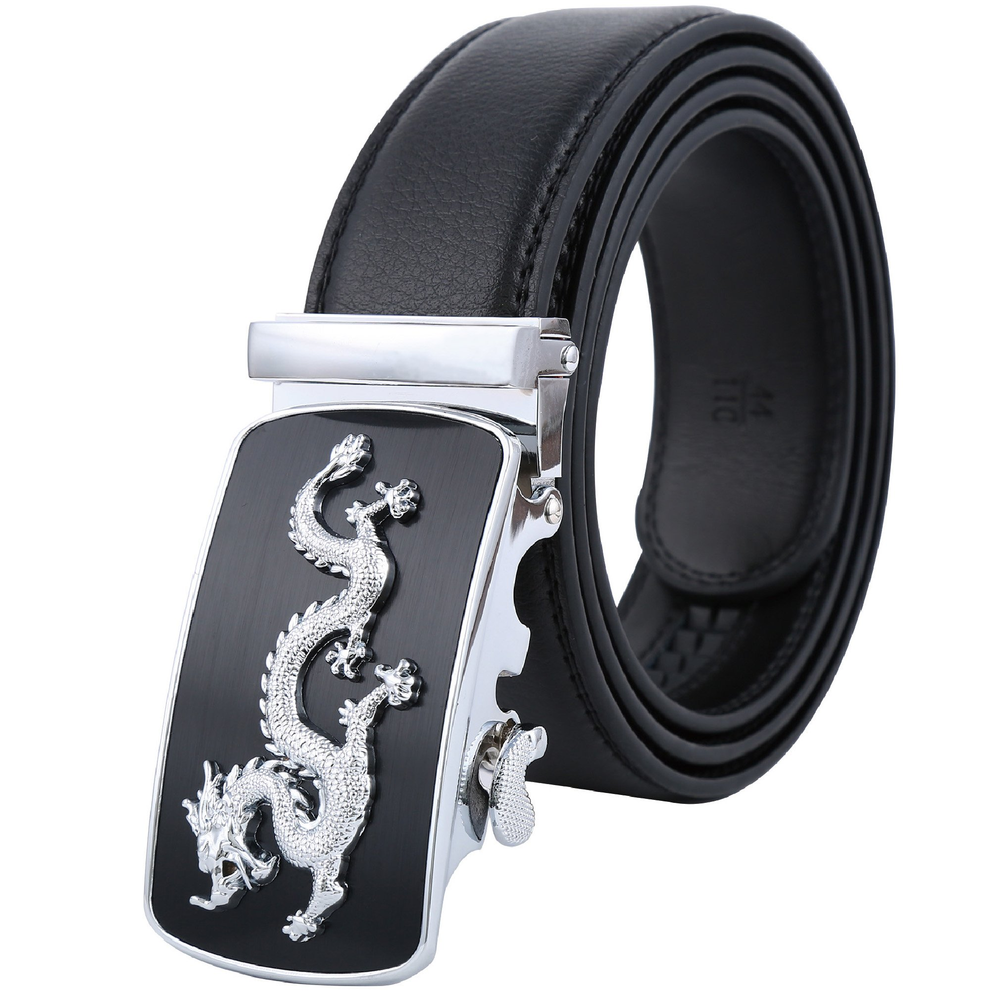Tanpie Men's Leather Belt Automatic Alloy Buckle 35mm Ratchet Belt Gold and Silver Dragon (40-45in.(130cm), Silver)