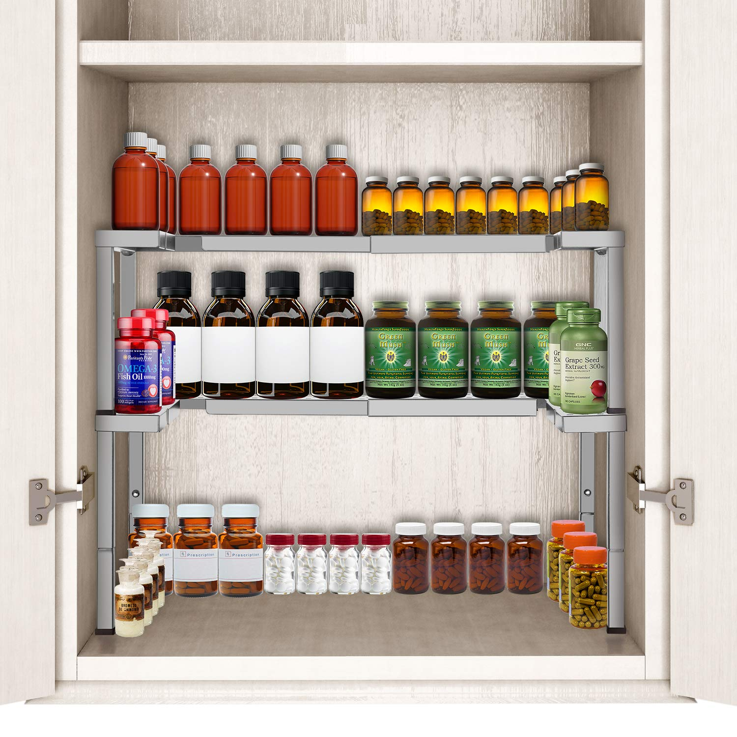 Bextsware 2 Pack Expandable and Stackable Spice Rack Organizer for Cabinet & Pantry, Adjustable Height Shelf for Spices, Medicine, Nail Polish, Metal Bronze (Silver) by Bextsware