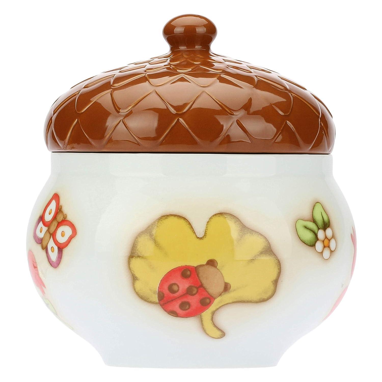THUN/® Porcellana Set in Due Pezzi Linea Autunno Biscottiera con Coperchio Sagomato A Forma di Ghianda