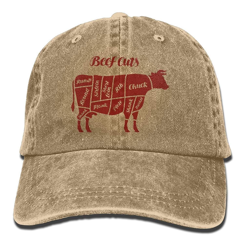 JTRVW Baseball Jeans Cap Beef Cuts Animal Silhouette Cow Men Snapback Casquettes Adjustable Plain Cap