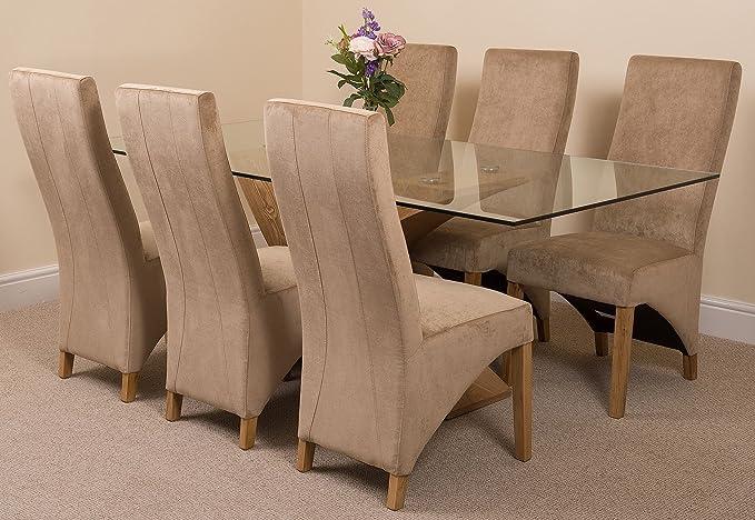 MODERN FURNITURE DIRECT Valencia Grande Roble 200 cm Moderno Cristal Juego de Mesa de Comedor y 6 sillas de Tela de Color Beige: Amazon.es: Hogar