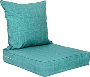 Deep Seat Cushions, Patio Seat and Back Cushion Sets, Outdoor/Indoor Chair Cushions with Removable Covers for Armchair, Rattan Wicker Chair, Dining Chair, Garden Furniture-Tiffany Blue 2-Piece Set