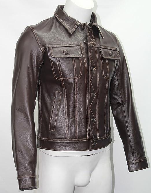 Hombres 1280 camionero marrón estilo clásico Casual corto Real ocultar chaqueta de cuero: Amazon.es: Ropa y accesorios