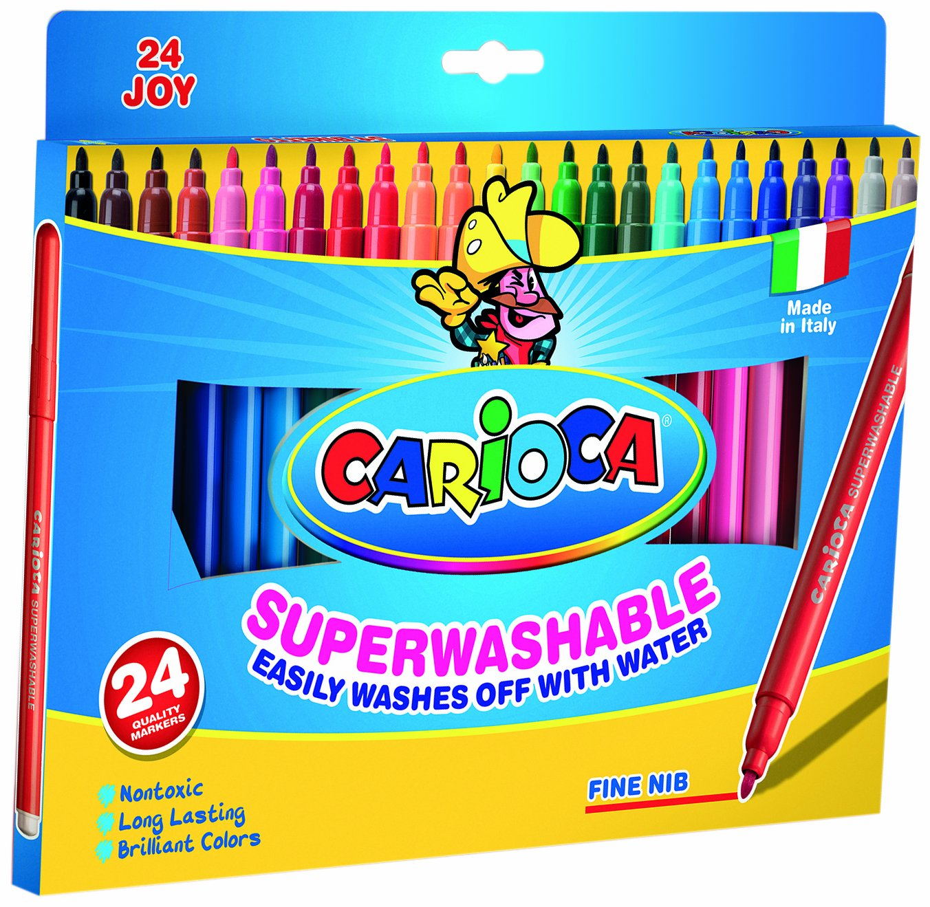 Carioca 40615 Pennarelli colorati superlavabili, 24 pezzi MAG_WP-G9R7-CN78