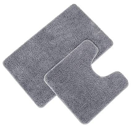 Pauwer Microfiber Bathroom Contour Rugs Combo, Bath Rug Set of 2 Soft Machine Washable Bath