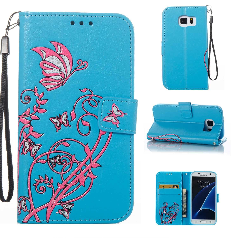 HCUI Compatible avec Galaxy S7 Coque Cuir Étui Wallet Housse, Portefeuille de Protection Coque avec Fonction Support Magnétique Pochette Antichoc Coque pour Galaxy S7 - Bleu.