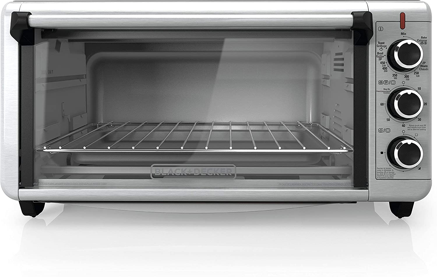 BLACK DECKER TO3240XSBD 8-Slice Extra Wide Convection Countertop Toaster Oven, Includes Bake Pan, Broil Rack Toasting Rack, Stainless Steel Black Convection Toaster Oven Renewed